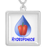 Hydroponics graphic, hydroponic pepper & drop personalised necklace
