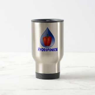 Hydroponics graphic, hydroponic pepper & drop stainless steel travel mug