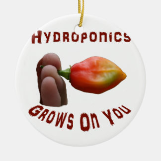 Hydroponics Grows On You habanero fingers Round Ceramic Decoration