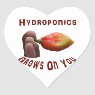 Hydroponics Grows On You habanero fingers Heart Sticker
