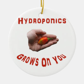 Hydroponics Grows on you Habanero Pepper Hand Round Ceramic Decoration