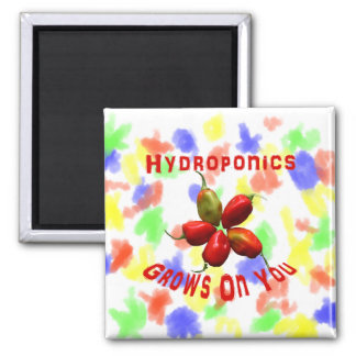 Hydroponics Grows On You habanero star Square Magnet