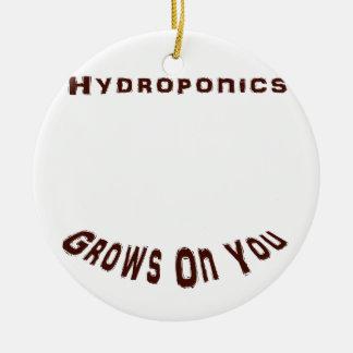 Hydroponics Grows On You Round Ceramic Decoration