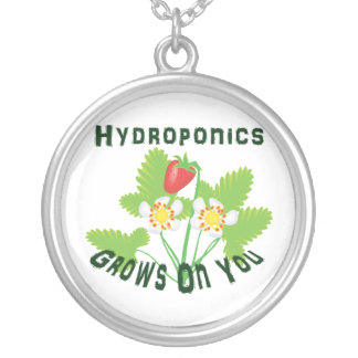 Hydroponics Grows On You Strawberries Round Pendant Necklace