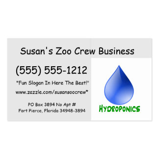 Hydroponics in green text with blue water drop business card template