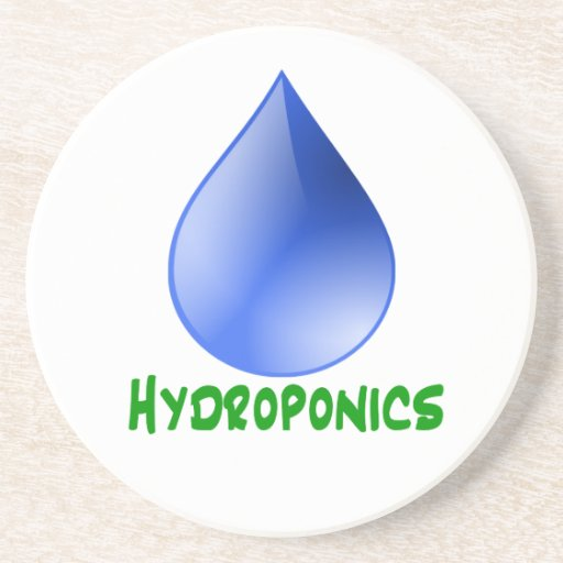 Hydroponics in green text with blue water drop coaster