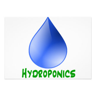 Hydroponics in green text with blue water drop invitation