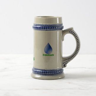 Hydroponics in green text with blue water drop mugs