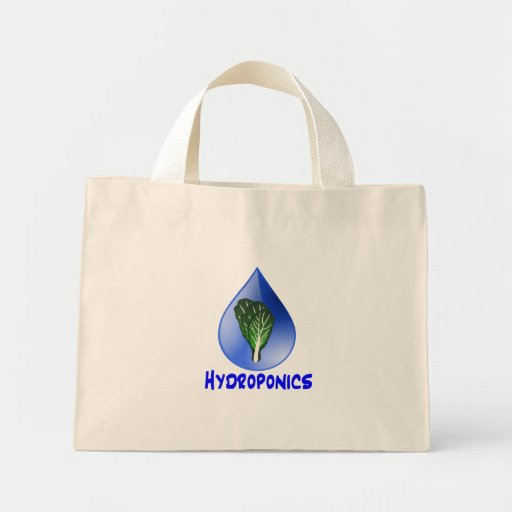 Hydroponics slogan Blue Drop with Lettuce graphic Tote Bags