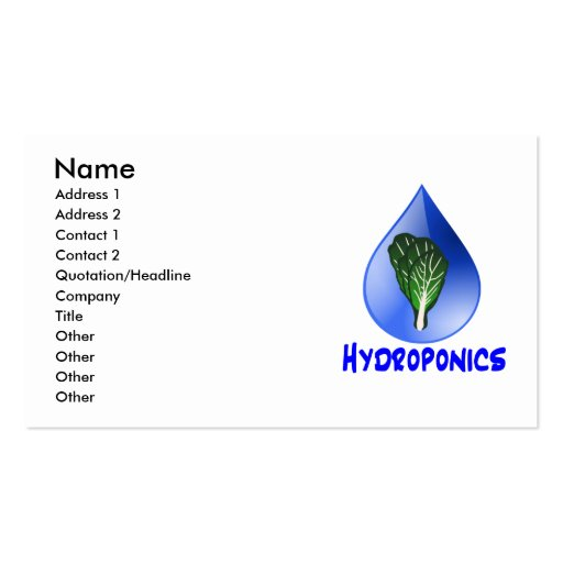 Hydroponics slogan Blue Drop with Lettuce graphic Business Card