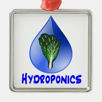 Hydroponics slogan Blue Drop with Lettuce graphic Christmas Tree Ornaments