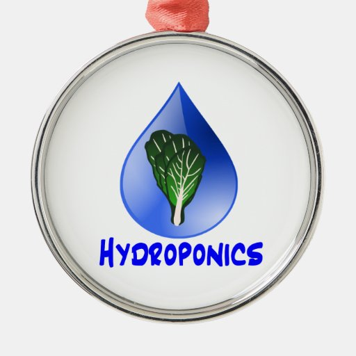 Hydroponics slogan Blue Drop with Lettuce graphic Christmas Tree Ornament