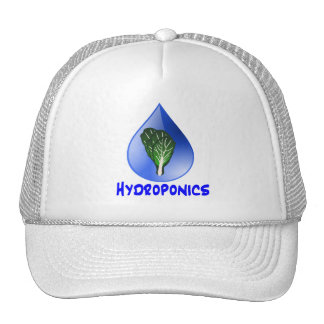Hydroponics slogan Blue Drop with Lettuce graphic Mesh Hat