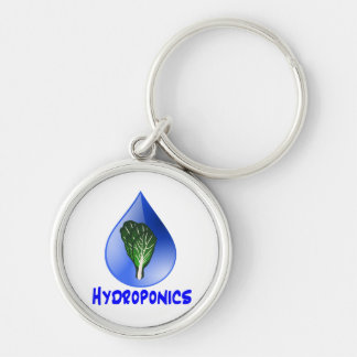 Hydroponics slogan Blue Drop with Lettuce graphic Silver-Colored Round Key Ring