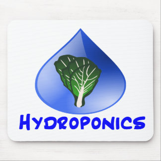 Hydroponics slogan Blue Drop with Lettuce graphic Mouse Pad