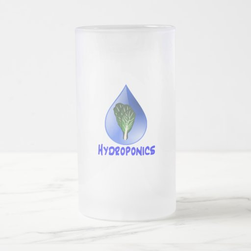 Hydroponics slogan Blue Drop with Lettuce graphic Mugs