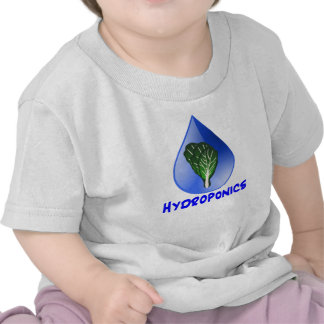 Hydroponics slogan Blue Drop with Lettuce graphic T Shirts