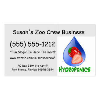 Hydroponics, strawberries, green text, blue drop business cards
