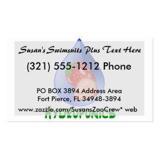 Hydroponics, strawberries, green text, blue drop business card templates