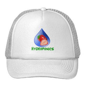 Hydroponics, strawberries, green text, blue drop trucker hat