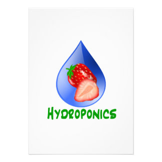 Hydroponics, strawberries, green text, blue drop personalized announcement