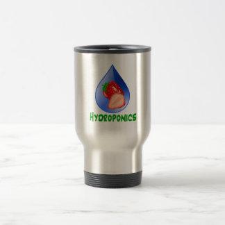 Hydroponics, strawberries, green text, blue drop mugs