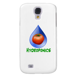 Hydroponics-Tomato, Green Text, Blue drop Galaxy S4 Case