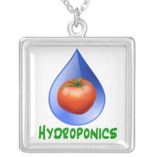 Hydroponics-Tomato, Green Text, Blue drop Square Pendant Necklace