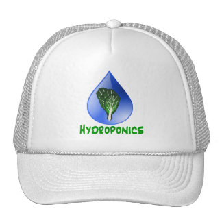 Hydroponics, water drop and lettuce Green text Hats