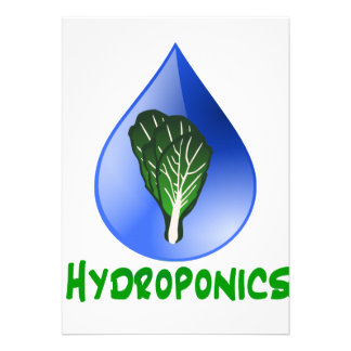 Hydroponics, water drop and lettuce Green text Custom Announcements