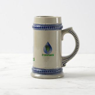 Hydroponics, water drop and lettuce Green text Coffee Mugs