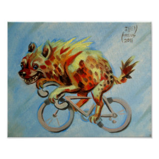 Hyena on a Bicycle Poster