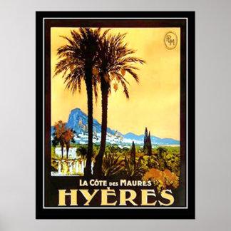 Hyeres Cote da Azur Vintage Advertising  poster Print