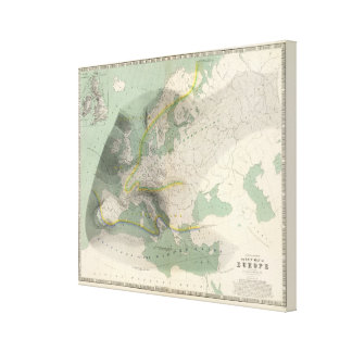 Hyetographic map Europe Canvas Print