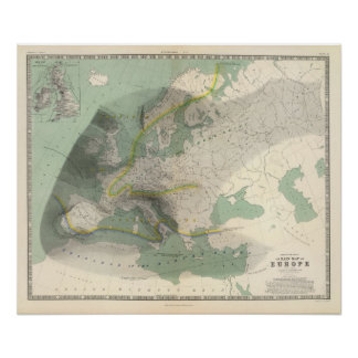 Hyetographic map Europe Poster