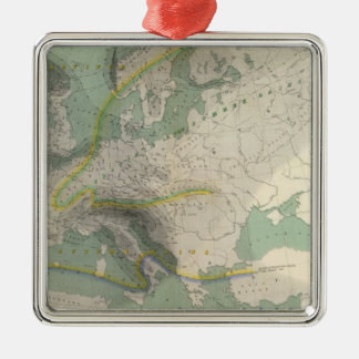 Hyetographic map Europe Silver-Colored Square Decoration