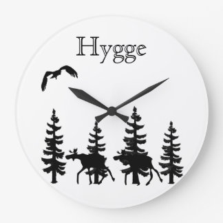 Hygge and nordic forest silhouettes in black large clock
