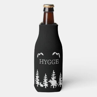 Hygge and nordic woods wildlife silhouettes black bottle cooler
