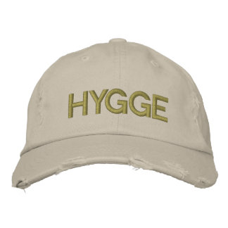 Hygge Danish Coziness Typography Embroidered Embroidered Hat