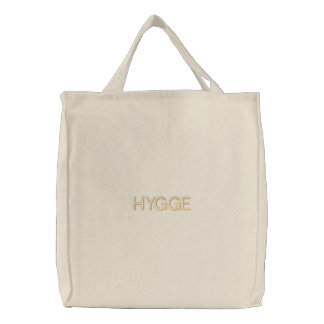 Hygge Danish Typography Organic Cotton Embroidered Embroidered Tote Bag