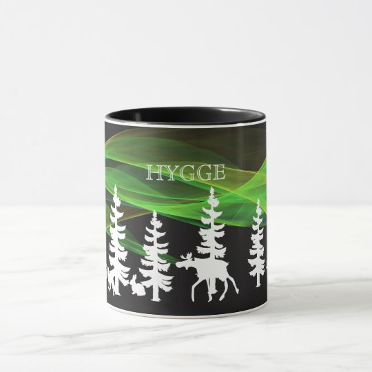 Hygge nordic woods in white with northern lights