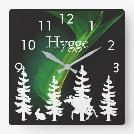 Hygge nordic woods silhouettes and northern lights square