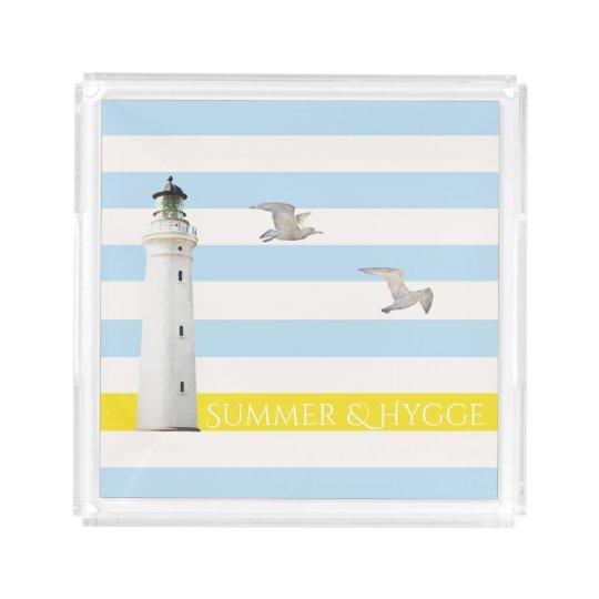 Hygge on blue white nautical stripes lighthouse