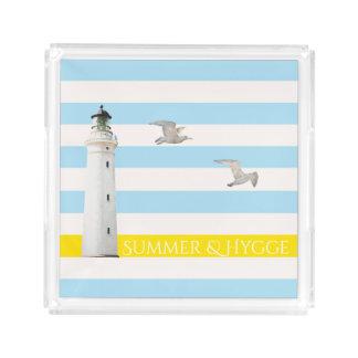 Hygge on blue white nautical stripes lighthouse acrylic tray