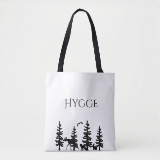 Hygge with cartoon trees and animals in black tote bag