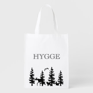Hygge with pine trees with animals in black