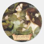 """Hylas and the Nymphs"" Pre-Raphaelite Bookplate Round Sticker"