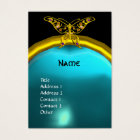 HYPER BUTTERFLY  AQUAMARINE  MONOGRAM blue yellow Business Card
