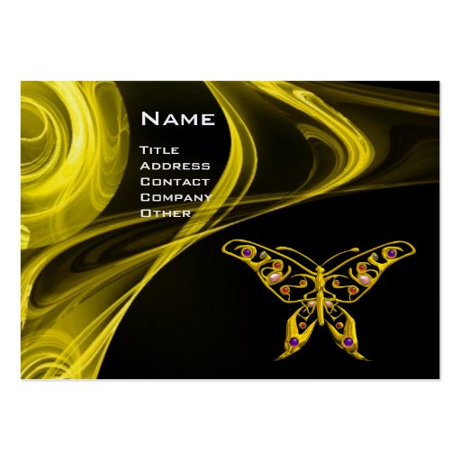 HYPER BUTTERFLY- bright  black yellow red Business Card Template