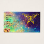 HYPER BUTTERFLY IN GOLD SPARKLES,blue,green,yellow Business Card